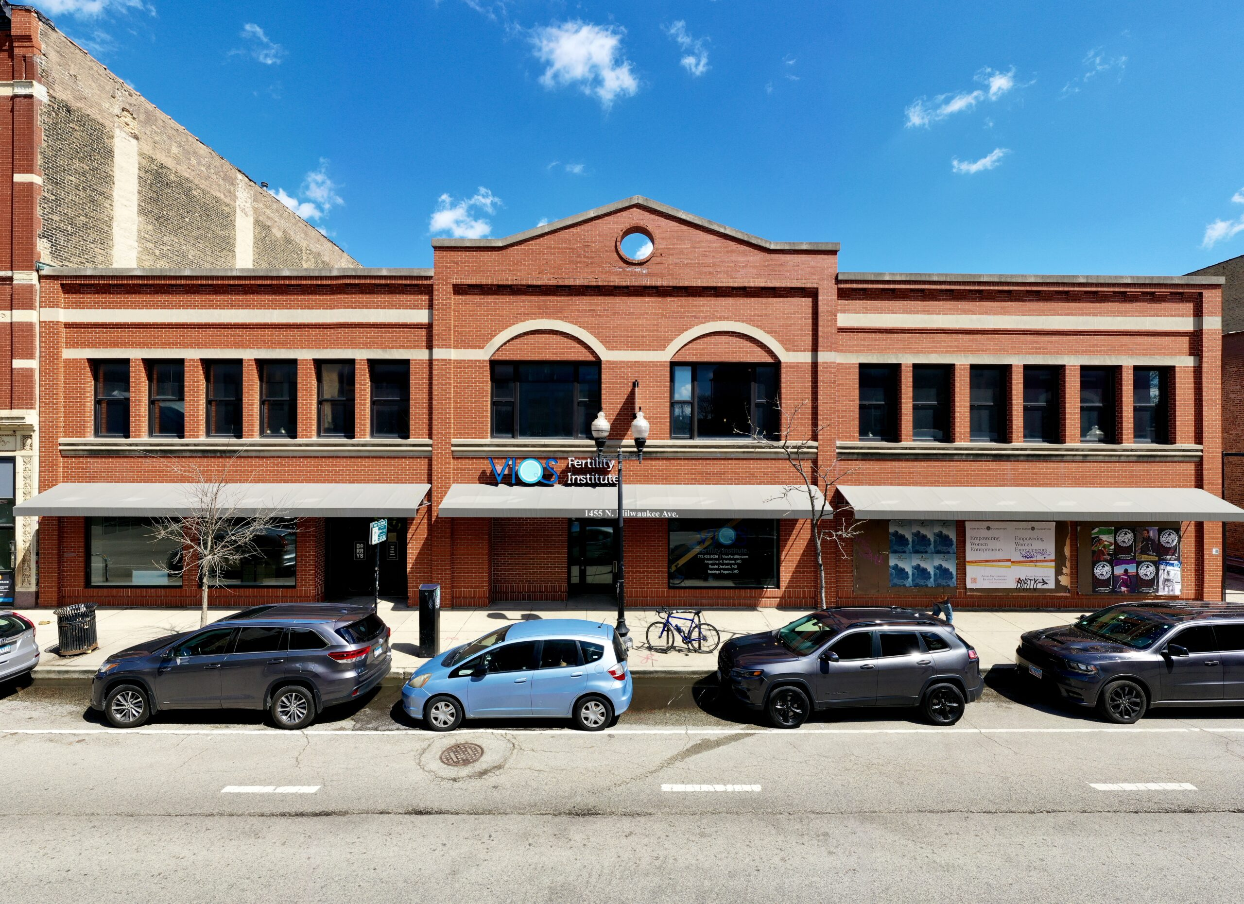 Street-level view of a medical retail office space in Wicker Park