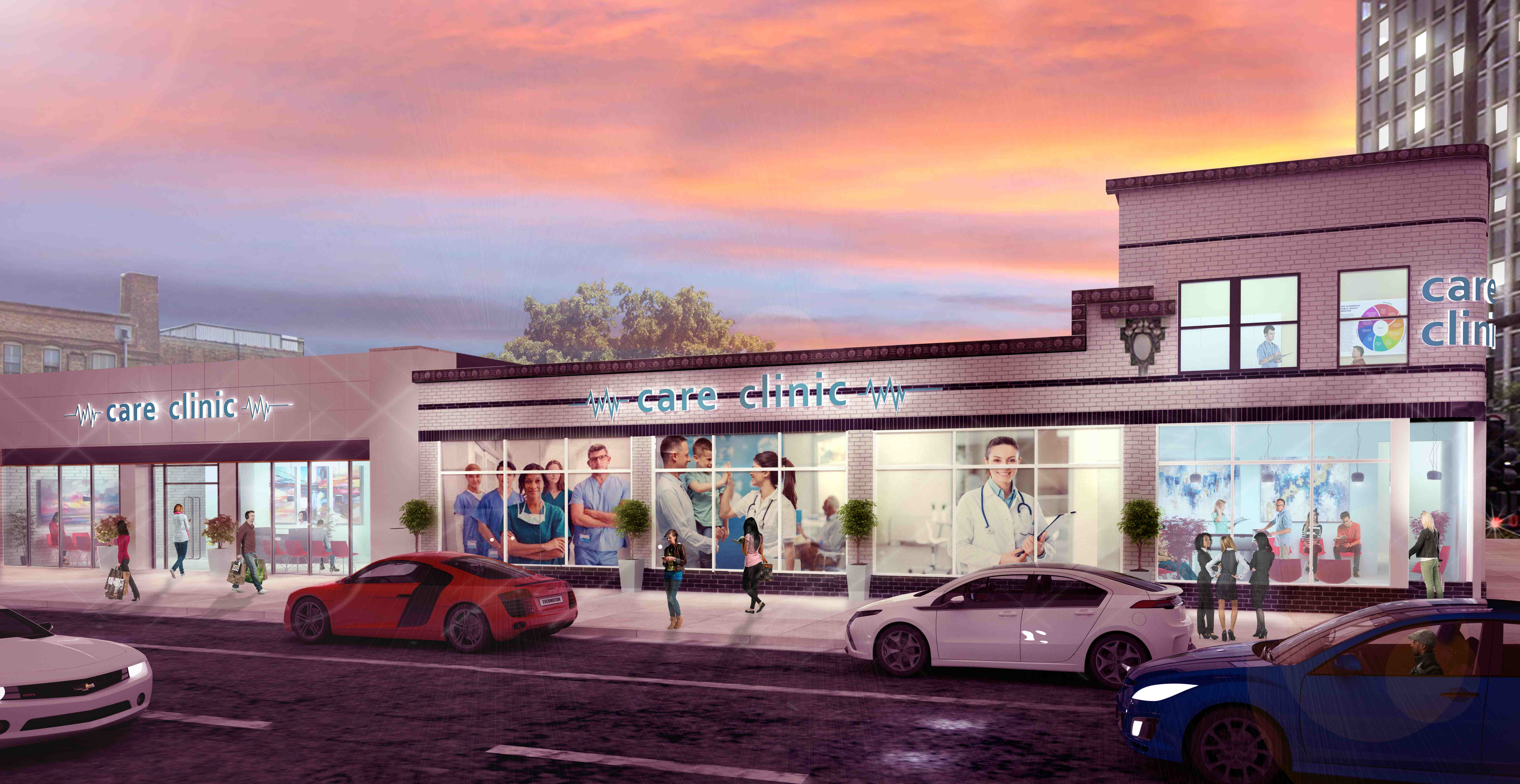 Rendering of what the space could look like as a care clinic