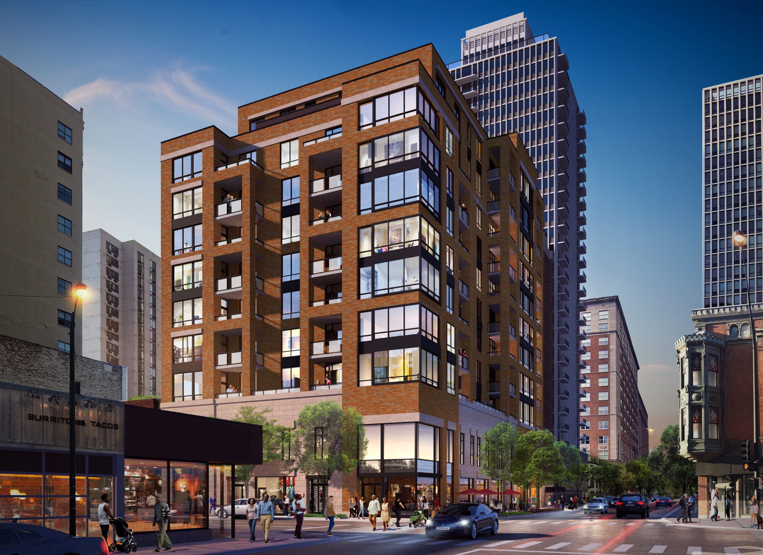 Rendering of an apartment building at State and Division